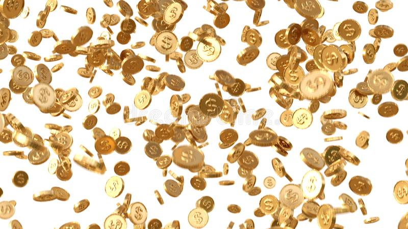 Guld- mynt regnar, fallande mynt, fallande pengar som flyger guld- mynt bakgrund isolerad white stock illustrationer