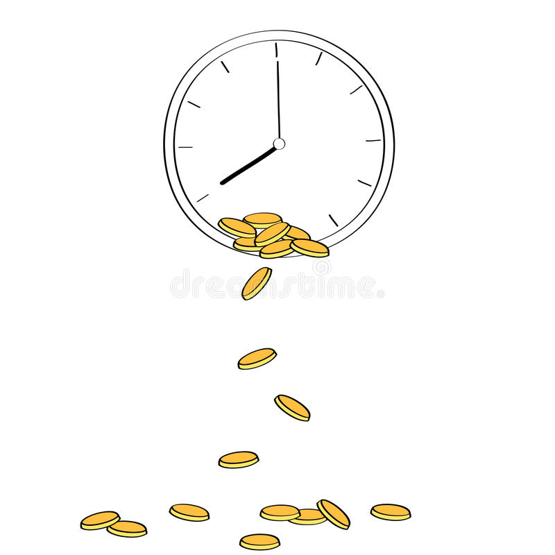 Guld- mynt som faller från klockan som visar begrepp av royaltyfri illustrationer