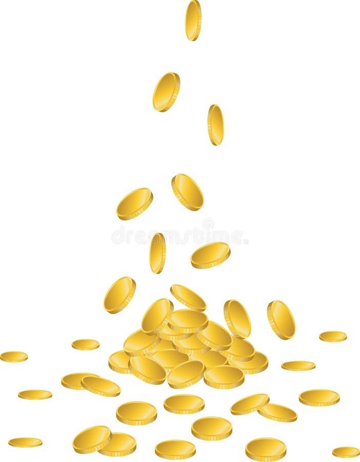 Guld- mynt som faller till jordningen royaltyfri illustrationer