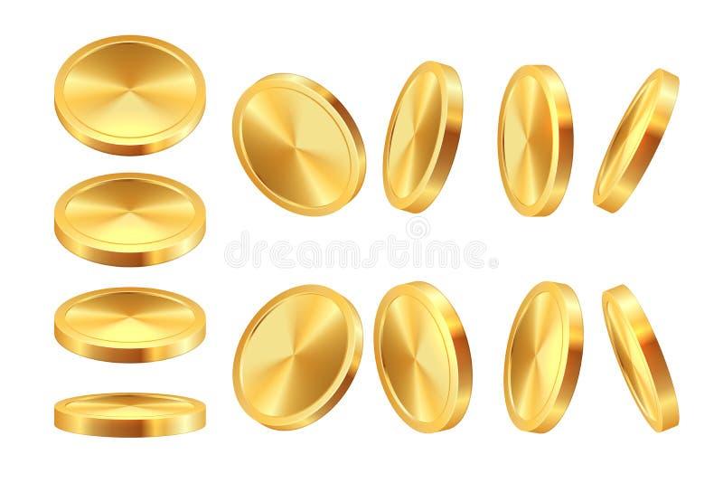 Guld- myntanimering Mall för mynt för realistiska för pengarkasinovaluta guld- mynt för dollar modig jackpott för kassa 3D vektor illustrationer