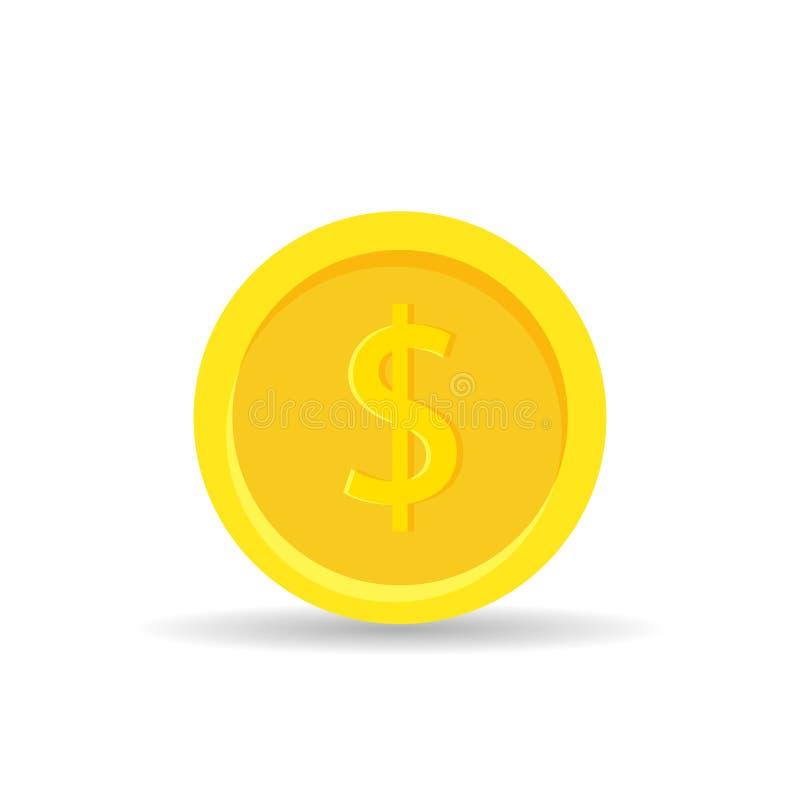 Guld- myntsymbol som isoleras på vit bakgrund - vektorillustration Guld- stil för pengarfinanslägenhet stock illustrationer