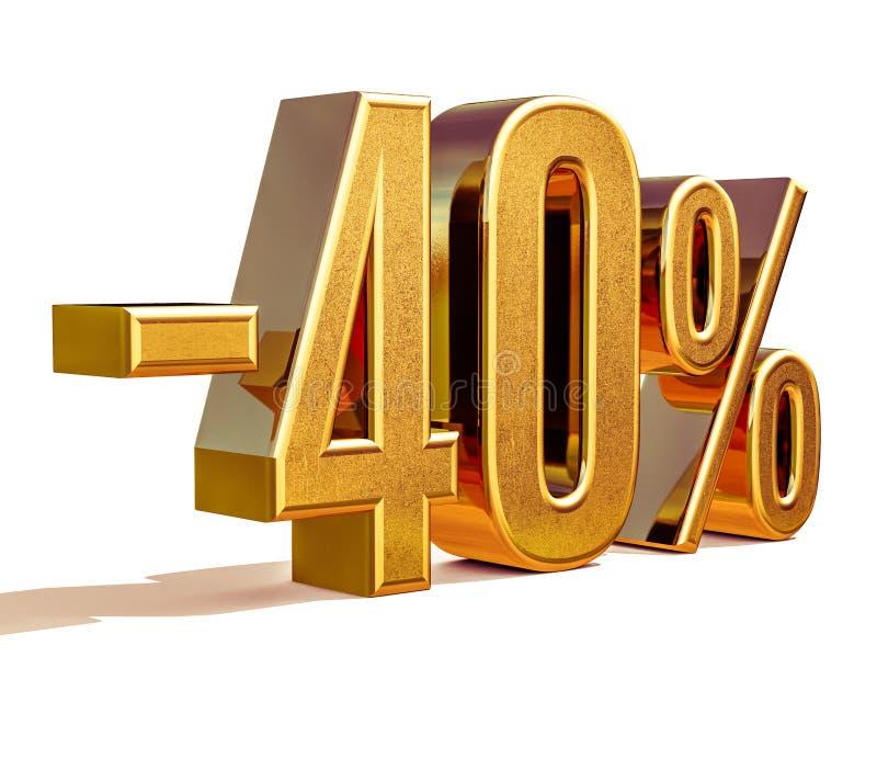 Guld -40%, negativ fyrtio procent rabatttecken arkivbilder