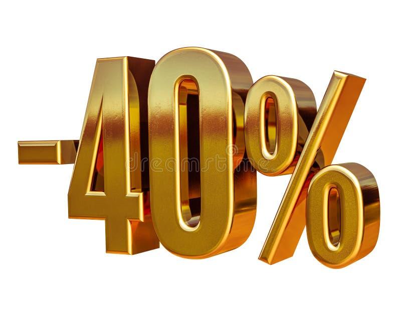 Guld -40%, negativ fyrtio procent rabatttecken fotografering för bildbyråer