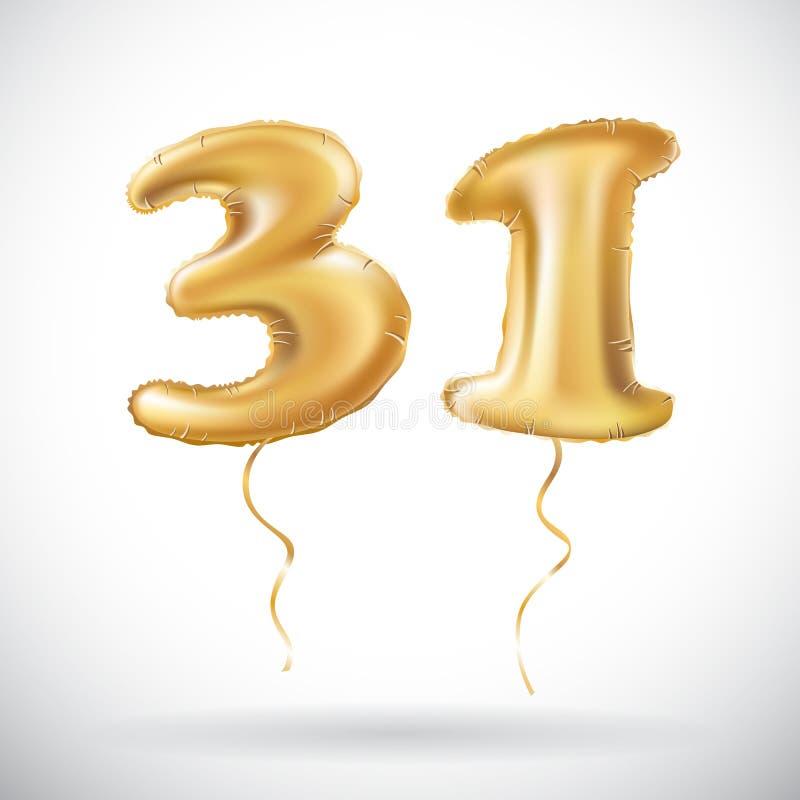 Guld- nummer 31 för vektor trettio ett av den uppblåsbara ballongen på vit bakgrund stock illustrationer