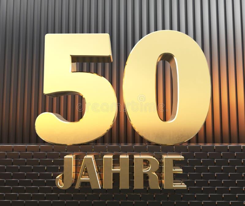 Guld- nummer femtio numrerar 50 och ordet stock illustrationer