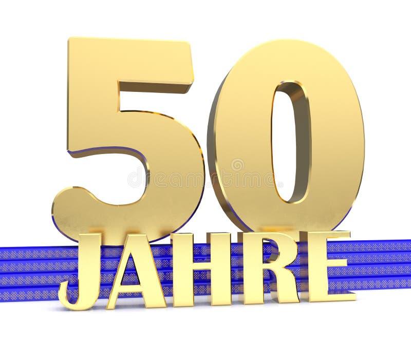 Guld- nummer femtio och inskriftåren på den blåa trappan med den ändlösa fnuren för guld- symboler Översatt från tysken - ye stock illustrationer