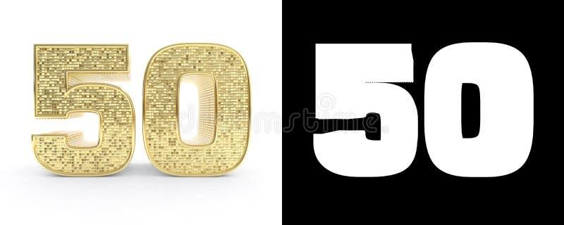 Guld- nummer femtio nummer 50 på vit bakgrund med droppskugga och den alfabetiska kanalen illustration 3d vektor illustrationer