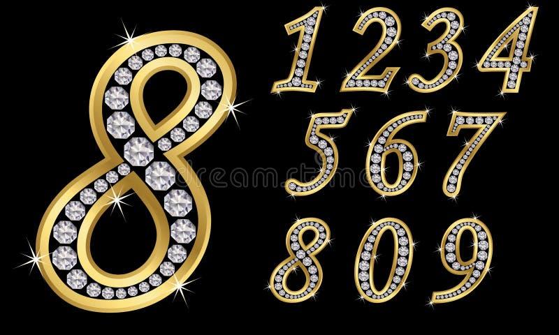 Guld- nummer med diamanter, n8umbers från 1 till 9 royaltyfri illustrationer