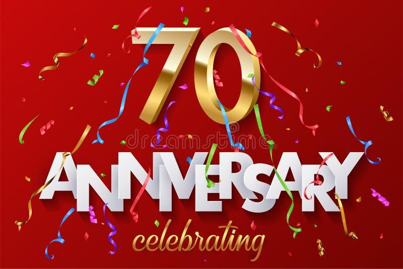 70 guld- nummer och årsdag som firar text med färgrikt slingrande och konfettier på röd bakgrund vektor stock illustrationer