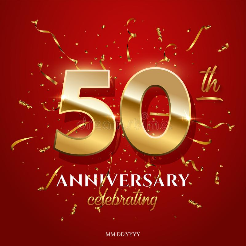 50 guld- nummer och årsdag som firar text med guld- slingrande och konfettier på röd bakgrund vektor vektor illustrationer