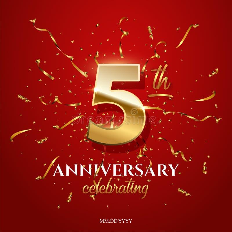 5 guld- nummer och årsdag som firar text med guld- slingrande och konfettier på röd bakgrund Vektorfemtedel royaltyfri illustrationer