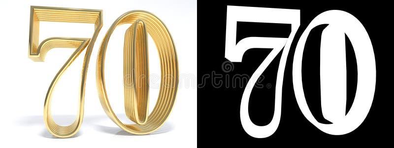 Guld- nummer sjuttio på vit bakgrund med droppskugga och a royaltyfri illustrationer