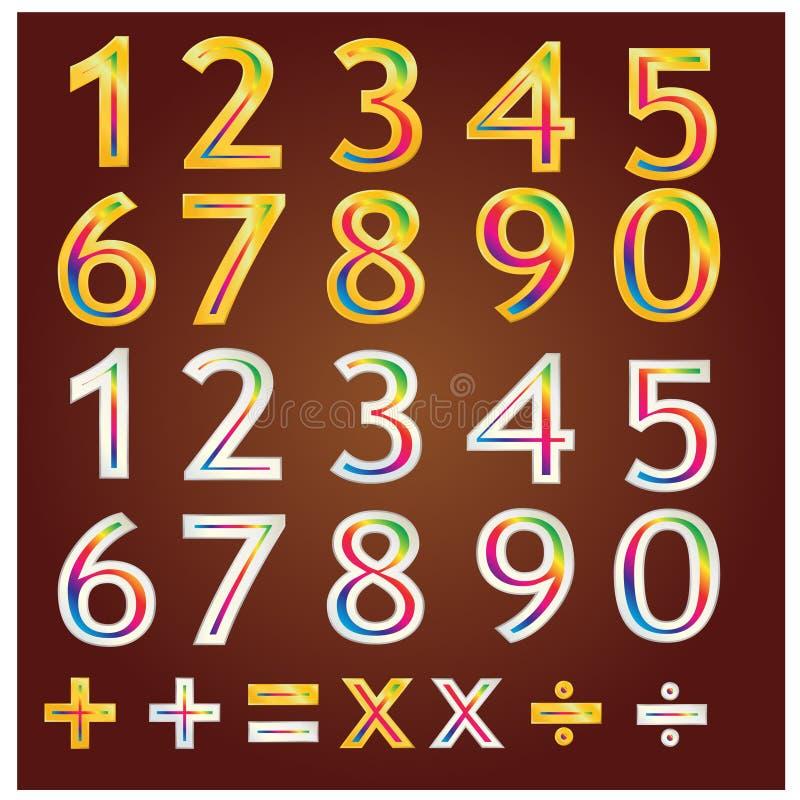 Guld- nummerdesignvektor stock illustrationer