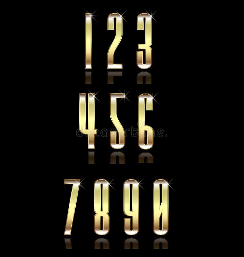 Guld- nummergruppuppsättning Begrepp av lyx stock illustrationer