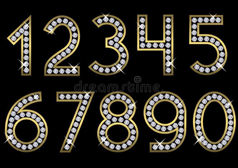 guld- nummerset stock illustrationer