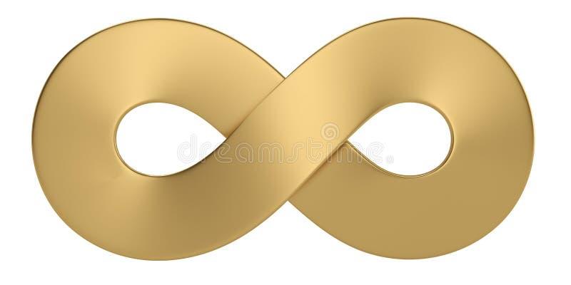 Guld- obegränsat symbol som isoleras på vit bakgrund illustration 3d royaltyfri illustrationer