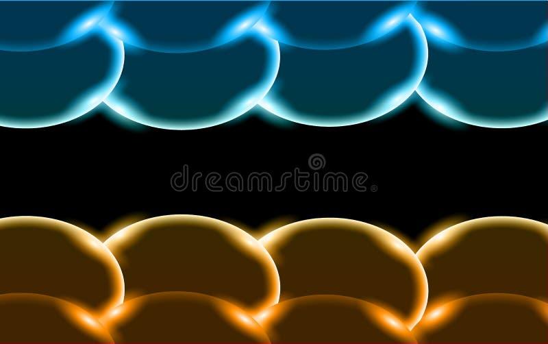 Guld- och blå abstrakt skinande härlig och konvex surround cirklar, stenar, bubblor, ägg med ilsken blick av ljus som över lokali vektor illustrationer