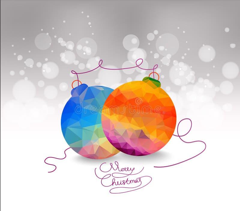 Guld- och blåttjulprydnader på silverbakgrund med utrymme för text Glad julkort vinter för snow för pojkeferielay Xmas-tema stock illustrationer