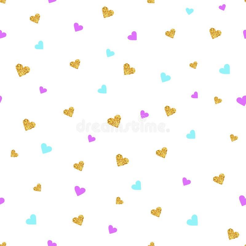 Guld och färg som blänker den sömlösa modellen för hjärtakonfettier vektor illustrationer