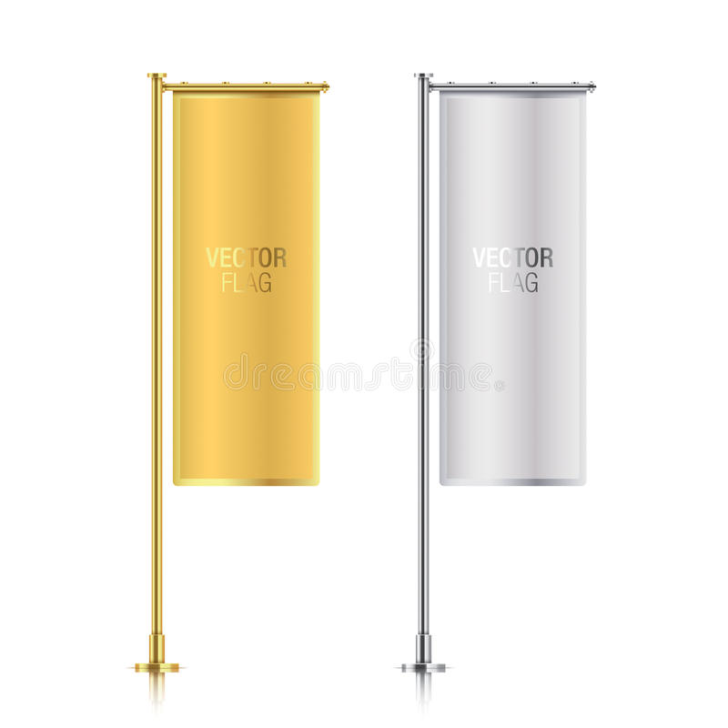 Guld- och för banerflagga för silver vertikala mallar vektor illustrationer