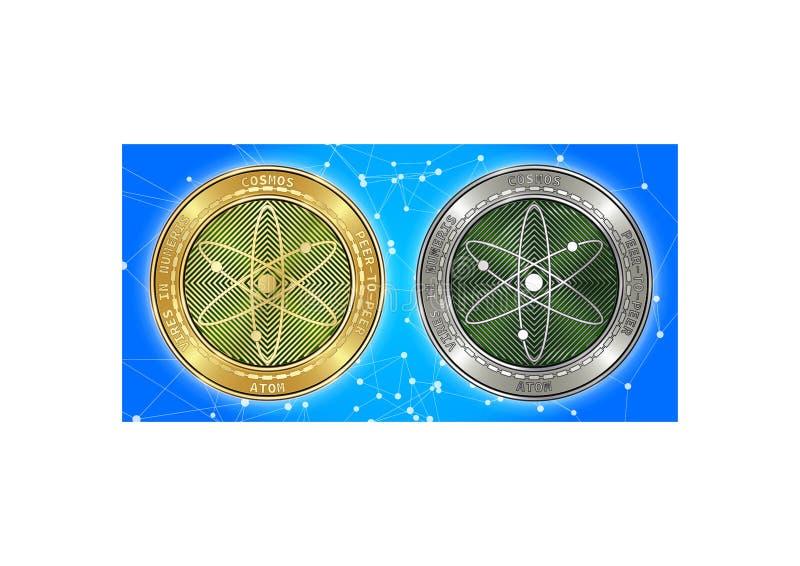 Guld- och för silverkosmosATOM för cryptocurrency mynt på blockchainbakgrund royaltyfri fotografi