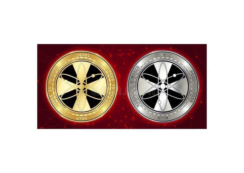 Guld- och för silverkosmosATOM för cryptocurrency mynt på blockchainbakgrund arkivfoton