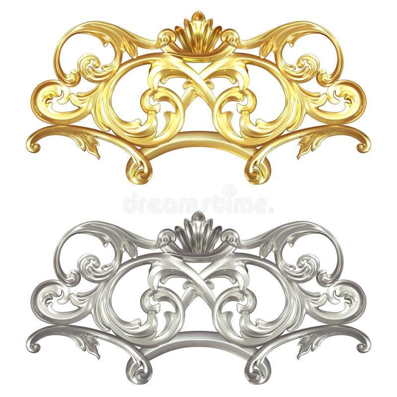 Guld- och försilvra stock illustrationer