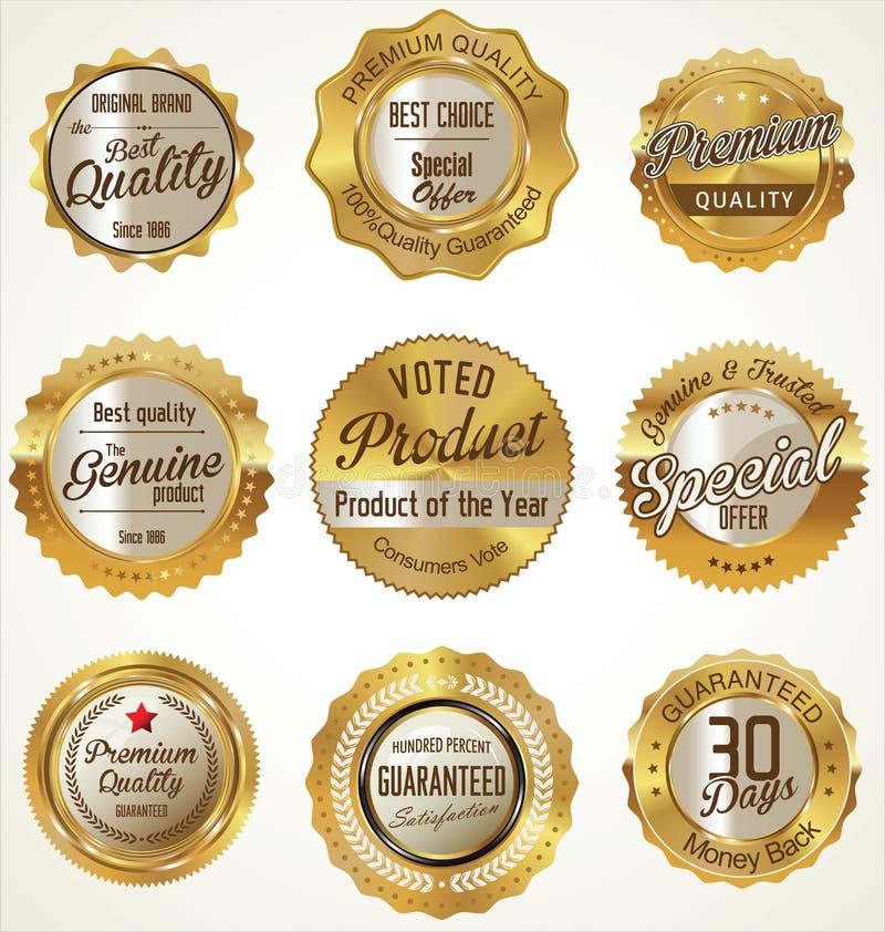 Guld och högvärdiga kvalitetsetiketter för svart stock illustrationer