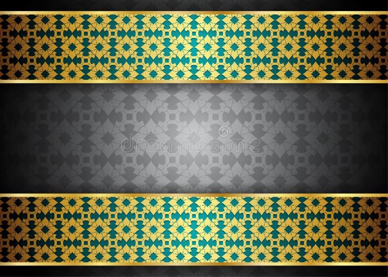Guld- och mörk tappningbakgrund stock illustrationer