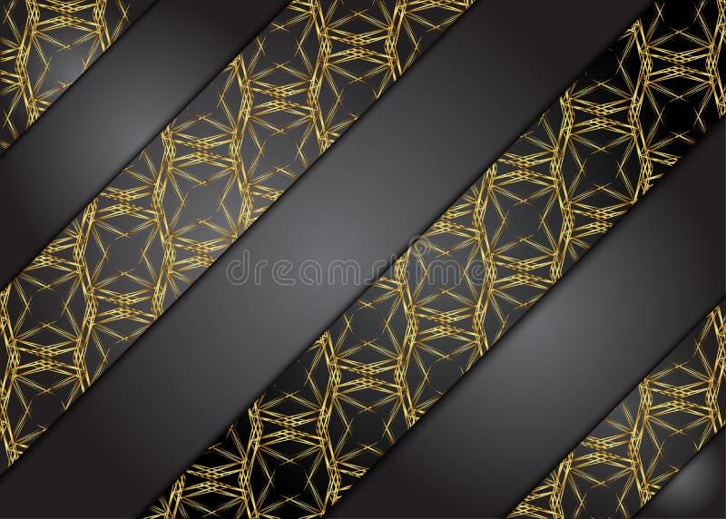 Guld- och mörk tappningbakgrund Mellanrum för meddelande royaltyfri illustrationer