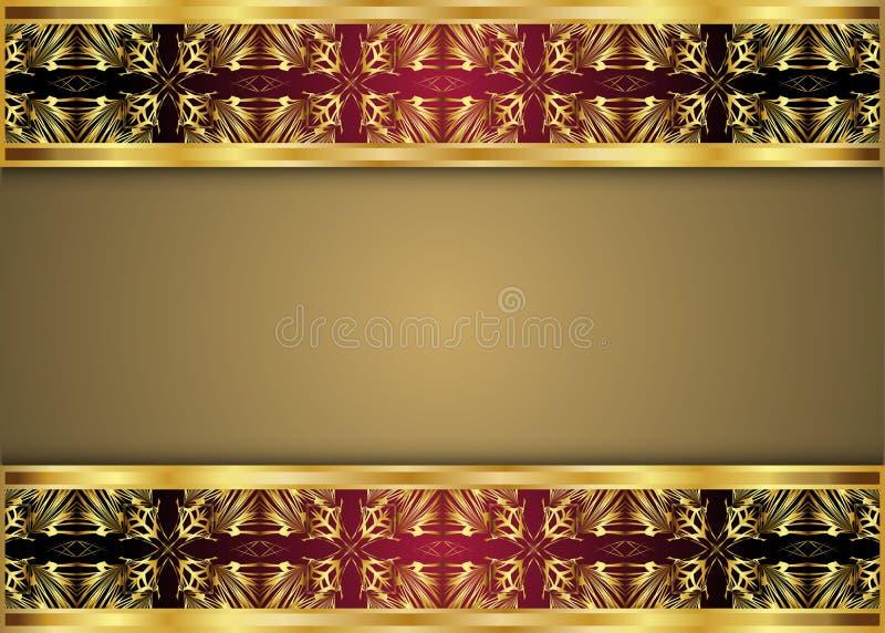 Guld- och mörk tappningmodell royaltyfri illustrationer