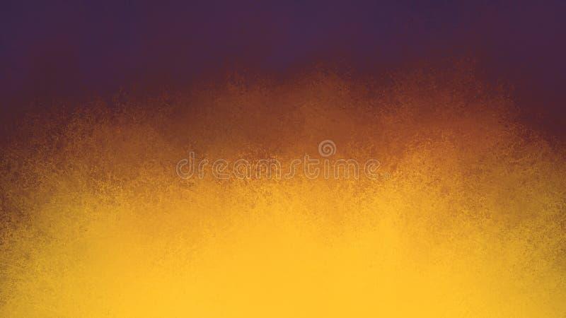 Guld- och orange färgfärgstänkbakgrund med mörk purpurfärgad blå gräns- och grungetextur stock illustrationer