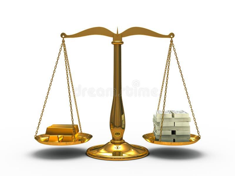 Guld- och pengarjämvikt royaltyfri illustrationer