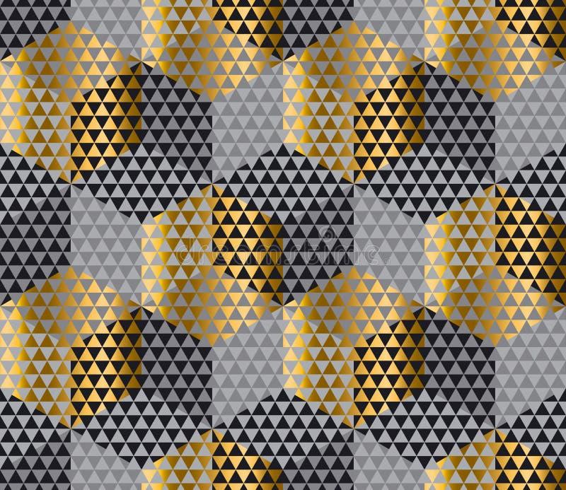 Guld och prövkopia för tyg för svartgeometrisexhörning sömlös royaltyfri illustrationer