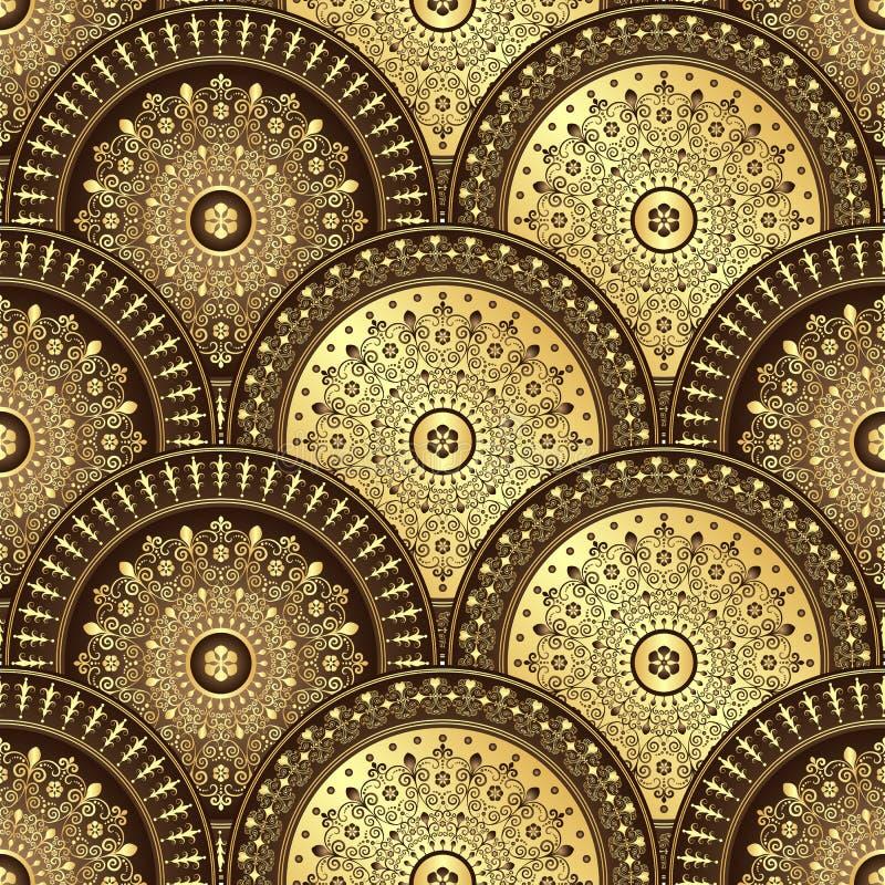 Guld och sömlös modell för brunt vektor illustrationer