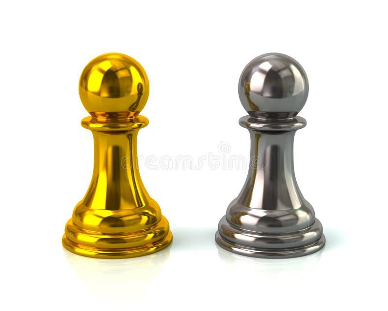 Guld och silver pantsätter vektor illustrationer