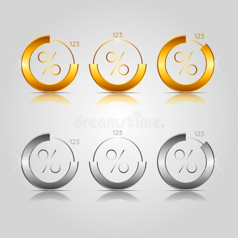 Guld- och silvercirkeldiagram vektor illustrationer