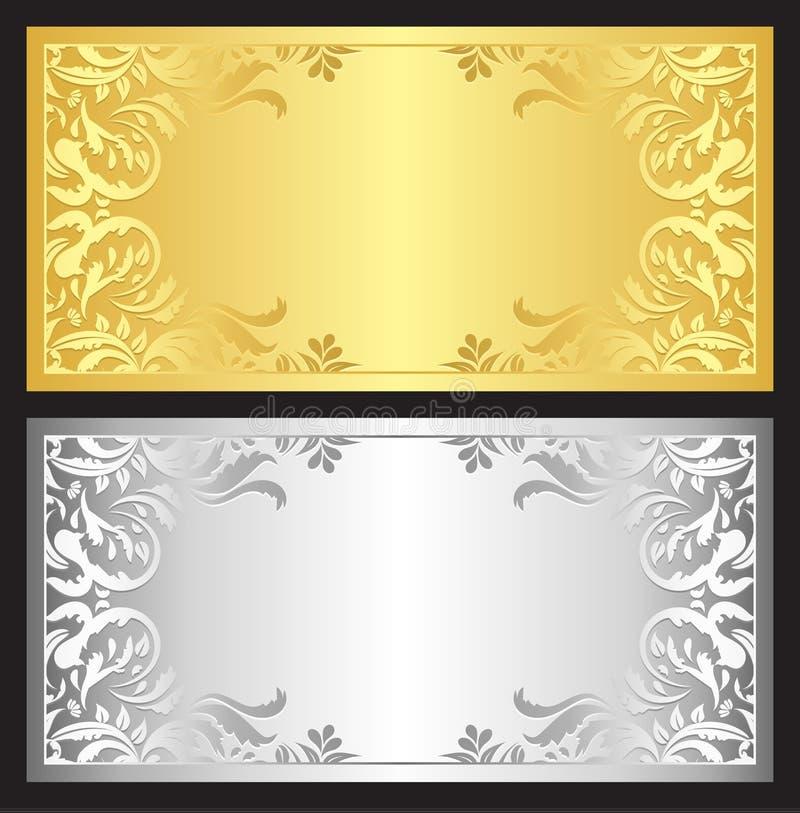 Guld- och silvergåvakupong med den damast prydnaden royaltyfri illustrationer