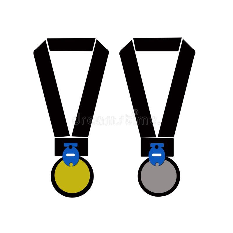 Guld- och silvermedaljillustration vektor illustrationer