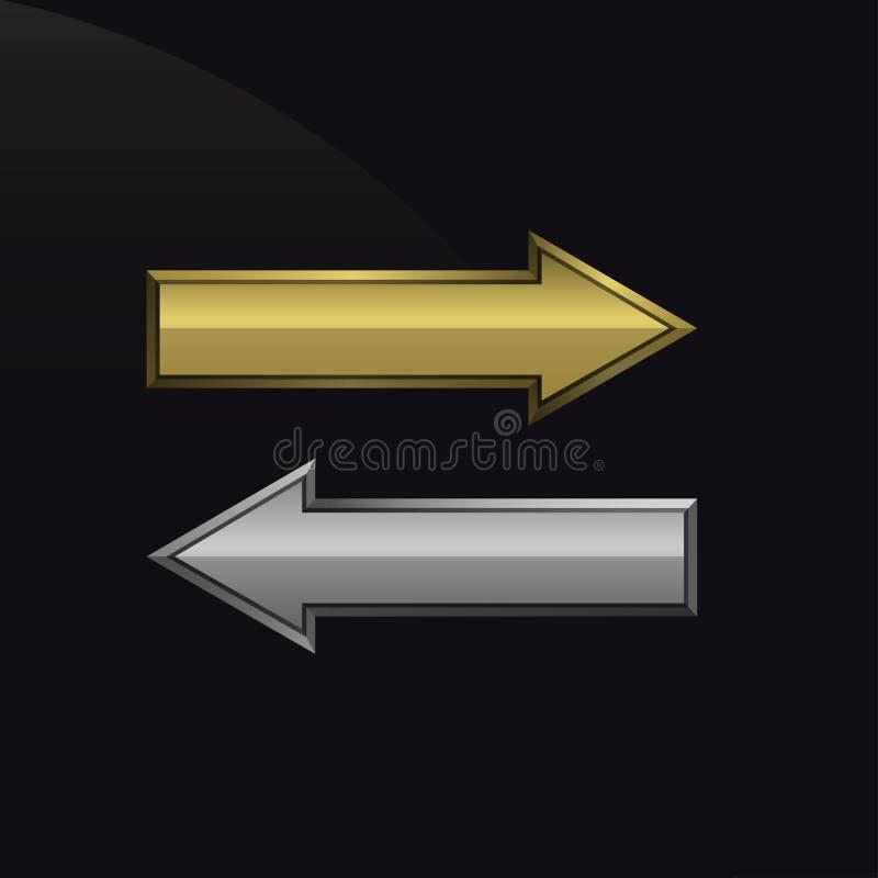 Guld- och silverpilar vektor illustrationer