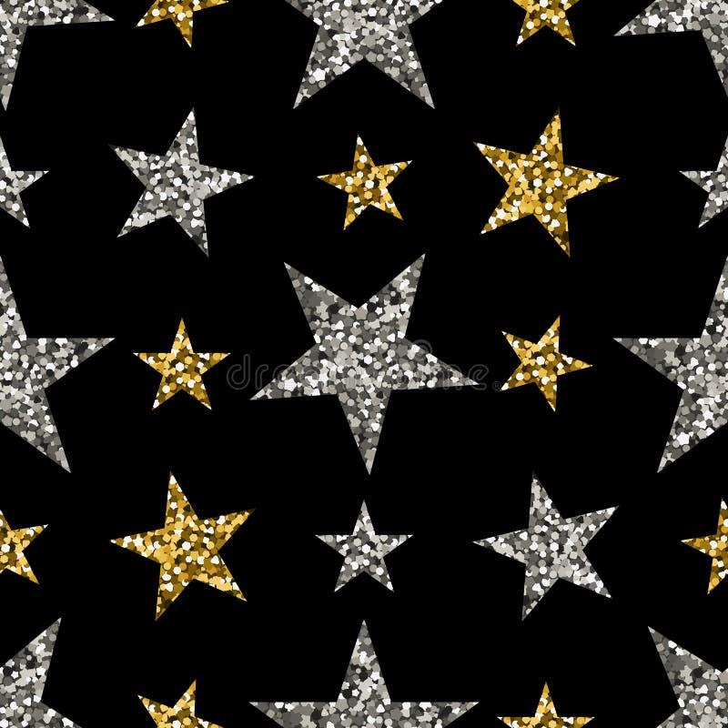 Guld- och silverstjärnor stock illustrationer