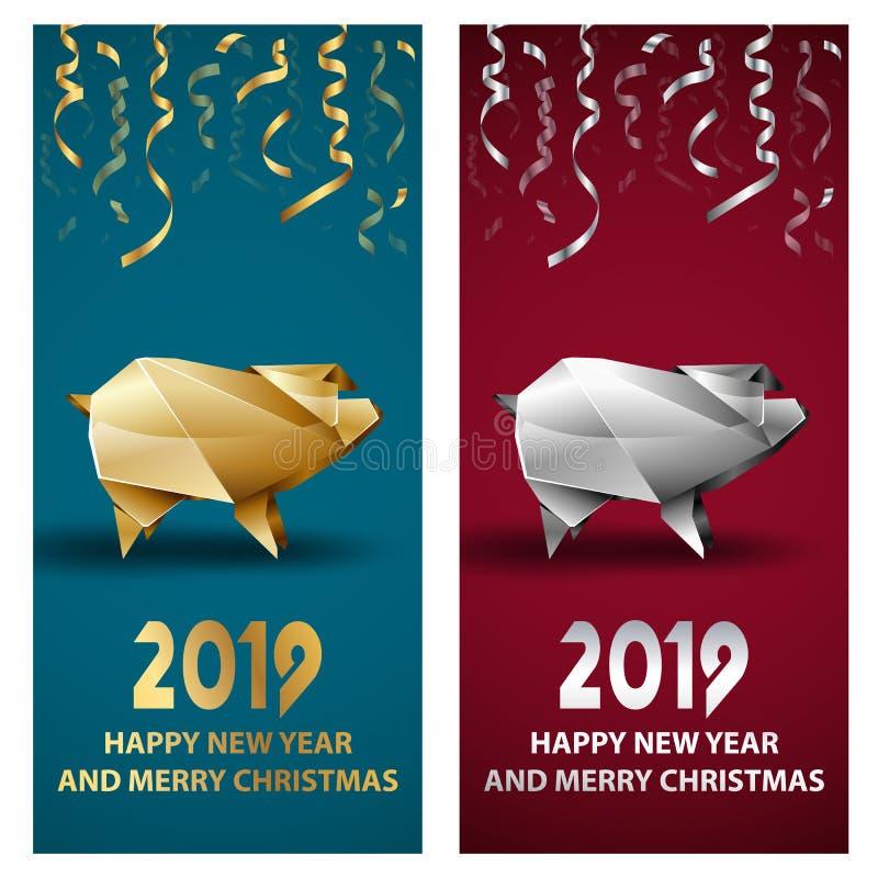 Guld- och silversvin som ett symbol av det kinesiska nya året 2019 royaltyfri illustrationer