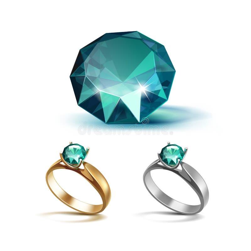 Guld och Siver förlovningsringar med Emerald Shiny Clear Diamond stock illustrationer