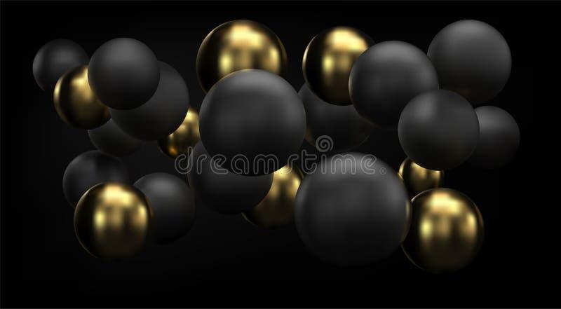 Guld- och svart abstrakt bakgrund med bubblor för sfärer 3d Vektorjulbollar som textureras med guld Smyckenräkning vektor illustrationer