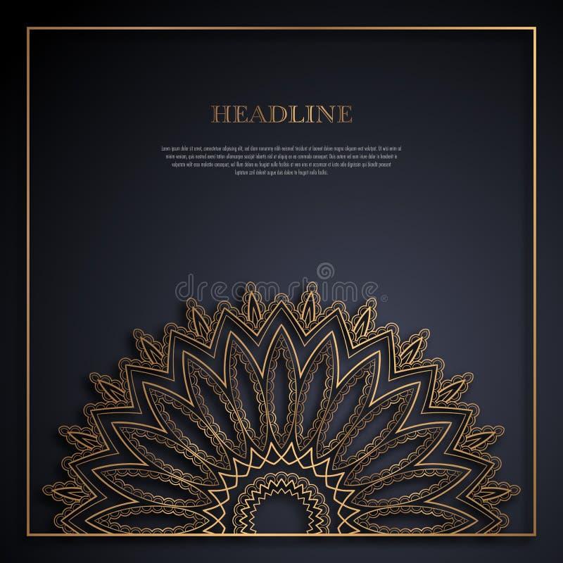 Guld- och svart kortmall royaltyfri illustrationer