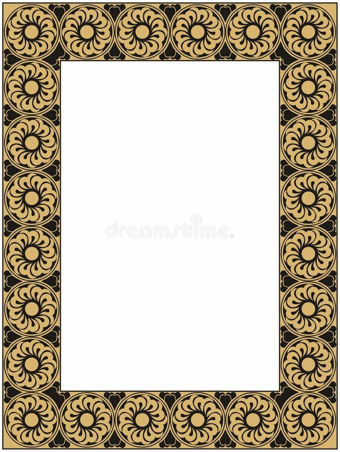 Guld och svartram royaltyfri illustrationer