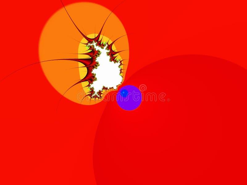 Guld- orange röd dekorativ abstrakt fractal för former, blommadesign, sidor, bakgrund arkivfoto