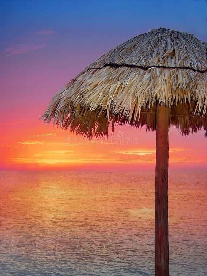 guld- orange träsolnedgångparaply för strand royaltyfria foton