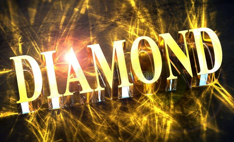 Guld- ord för `-DIAMANT` med småelakt ljus vektor illustrationer