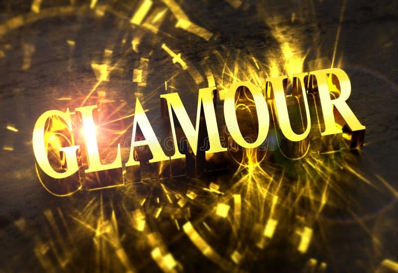 Guld- ord för `-GLAMOUR` med småelakt ljus stock illustrationer